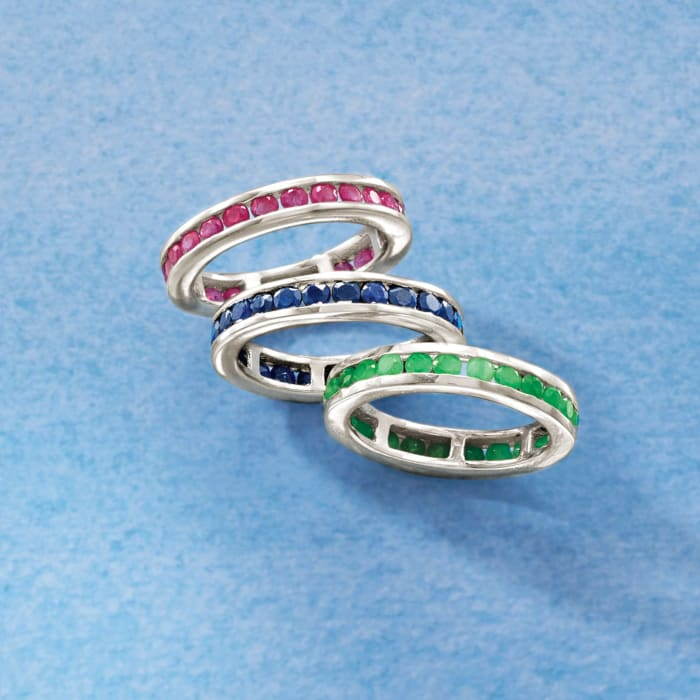 2.00 ct. t.w. Channel-Set Ruby Eternity Band in Sterling Silver