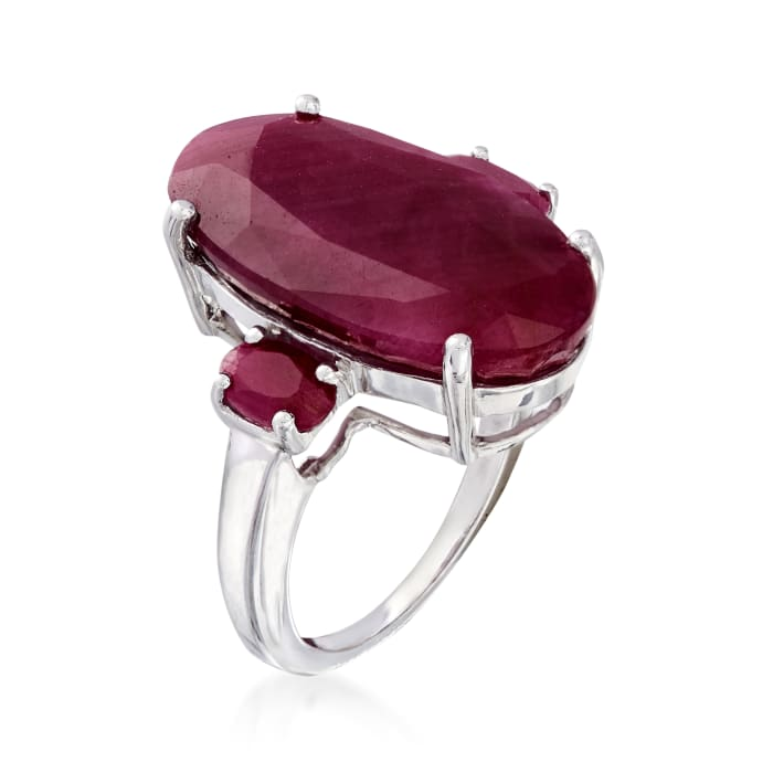 15.20 ct. t.w. Three-Stone Ruby Ring in Sterling Silver