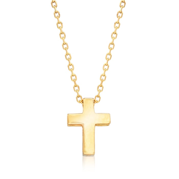 18kt Yellow Gold Small Cross Pendant Necklace