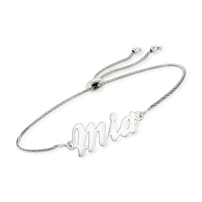 Sterling Silver Personalized Name Bolo Bracelet