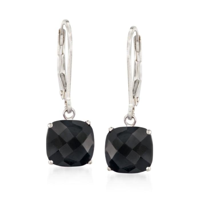 Cushion-Cut Black Onyx Drop Earrings in Sterling Silver