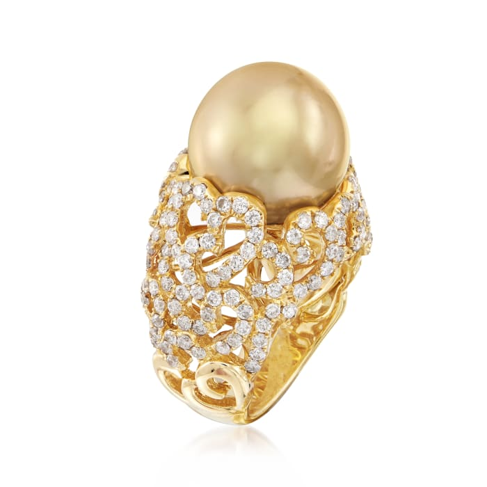13-14mm Golden South Sea Pearl and 2.00 ct. t.w. Diamond Ring in 18kt Yellow Gold