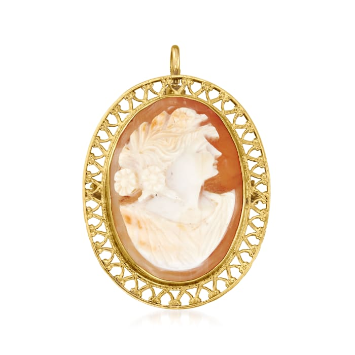 C. 1950 Vintage Pink Shell Cameo Pin/Pendant in 10kt Yellow Gold
