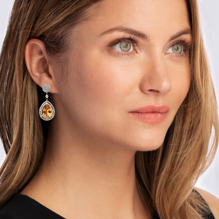 8.00 ct. t.w. Citrine and 1.55 ct. t.w. Diamond Pear-Shaped Drop Earrings in 14kt White Gold