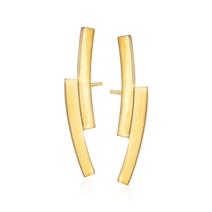 14kt Yellow Gold Mini Double-Curve Ear Climbers