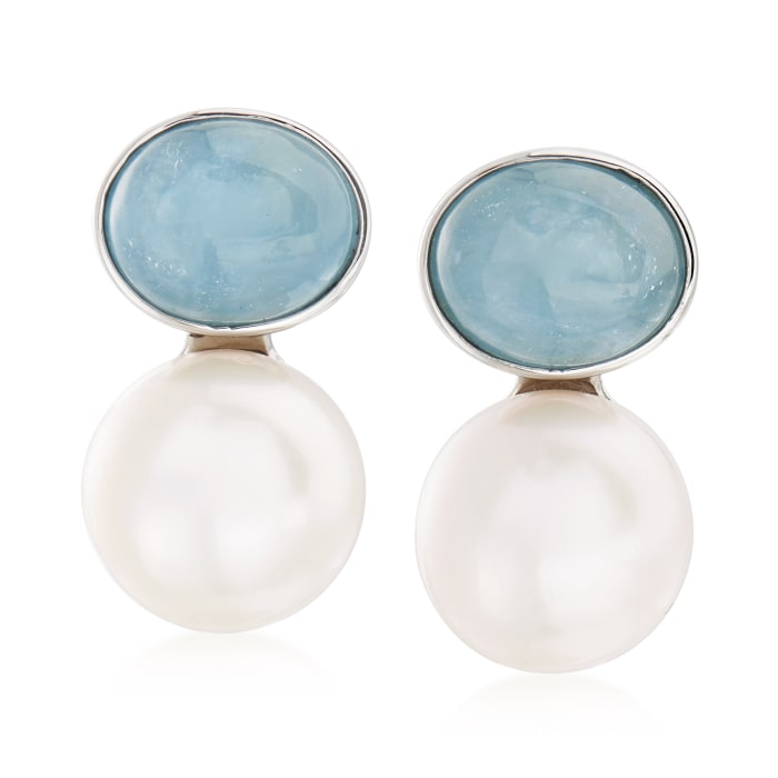13.5-14mm Cultured Pearl and 10.00 Aquamarine Earrings in Sterling Silver