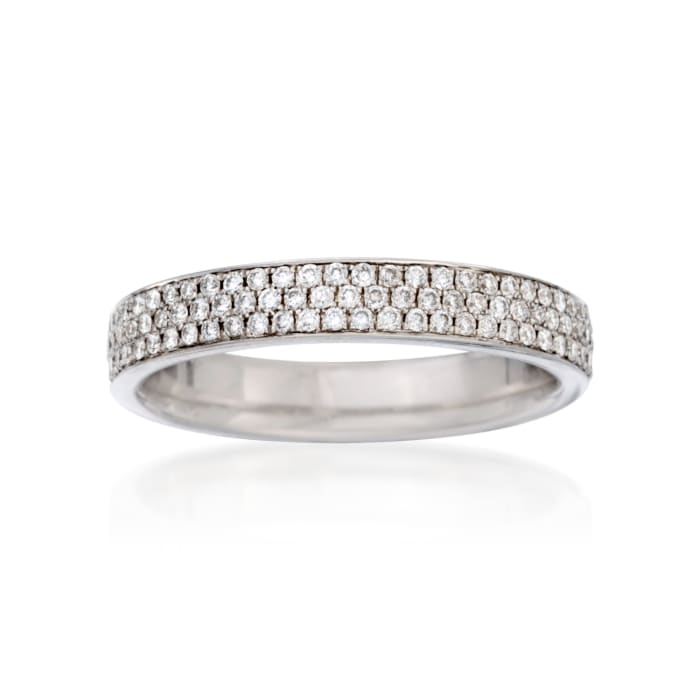 Henri Daussi .40 ct. t.w. Pave Diamond Three-Row Wedding Ring in 18kt White Gold