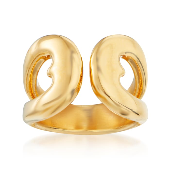 Italian Andiamo 14kt Yellow Gold Over Resin Open-Space Heart Ring