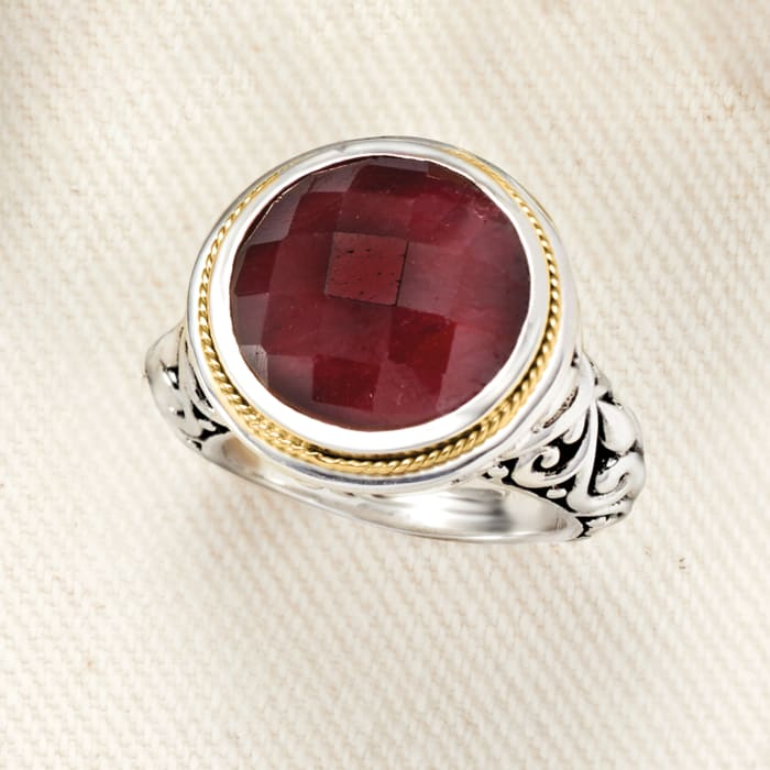 Balinese 15.00 Carat Ruby Ring in 18kt Yellow Gold and Sterling Silver