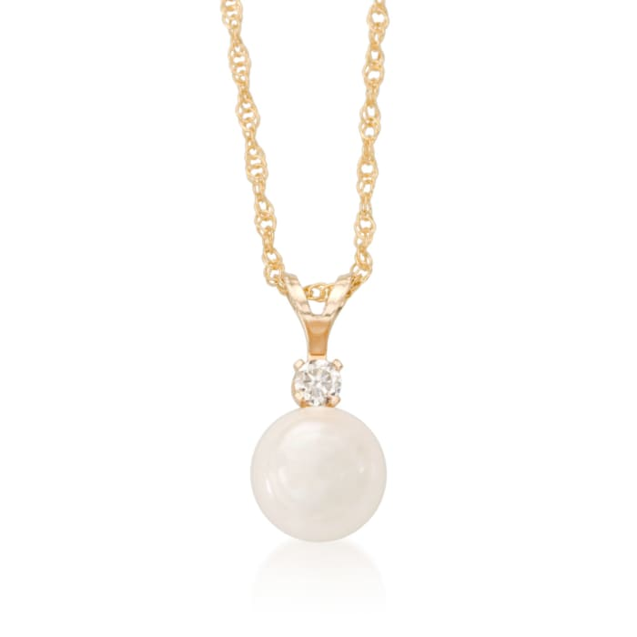 6-6.5mm Cultured Akoya Pearl and Diamond Accent Necklace in 14kt Yellow Gold