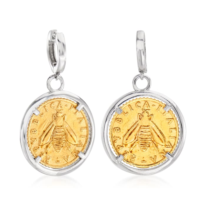 Italian Replica Lira Bee Coin Drop Earrings in Sterling Silver and 18kt Gold Over Sterling