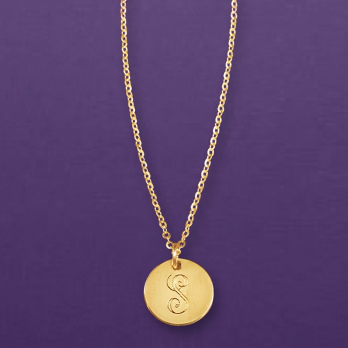 Italian 14kt Yellow Gold Single-Initial Petite Circle Charm Necklace