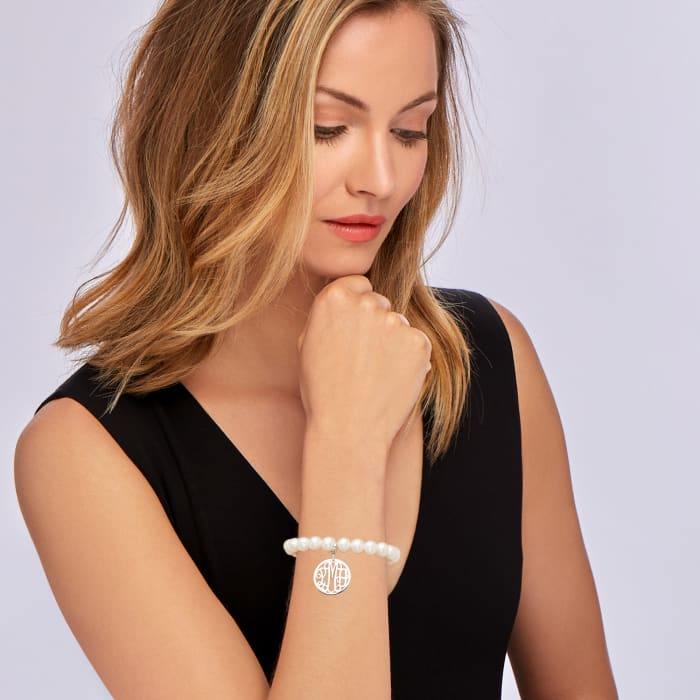 8-8.5mm Cultured Pearl Stretch Bracelet with Sterling Silver Personalized Disc Charm