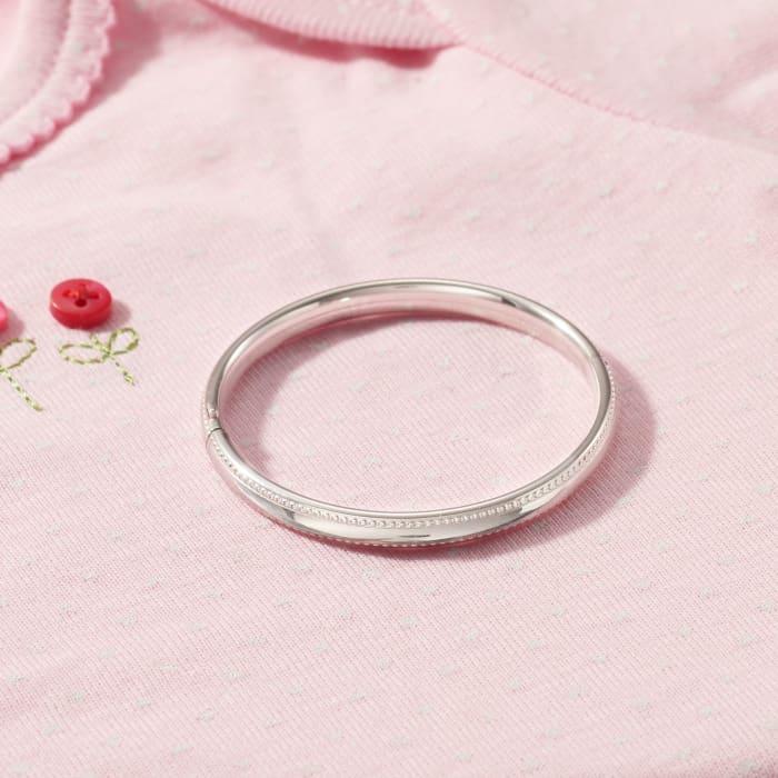 Child's Sterling Silver Beaded Border Bangle Bracelet