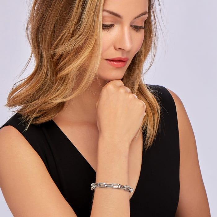 Italian Sterling Silver Paper Clip Link Bracelet