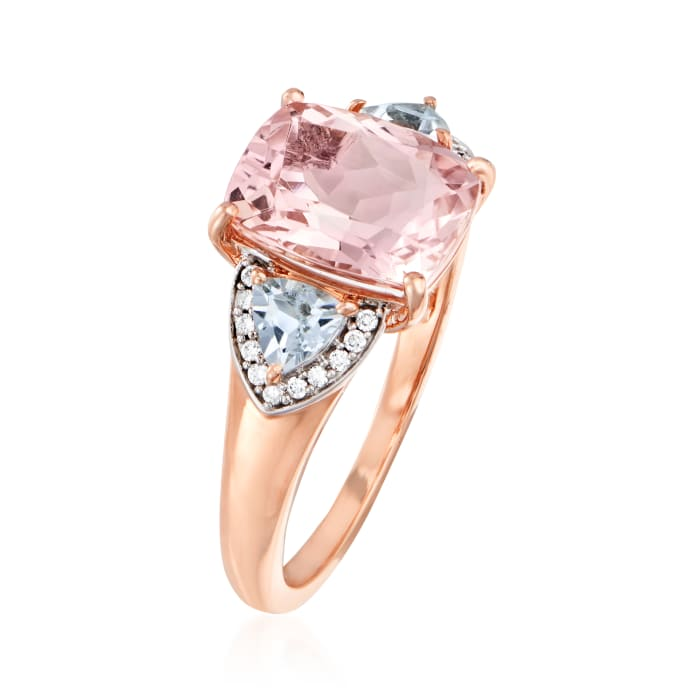 3.00 Carat Morganite and .40 ct. t.w. Aquamarine Ring with Diamond Accents in 14kt Rose Gold