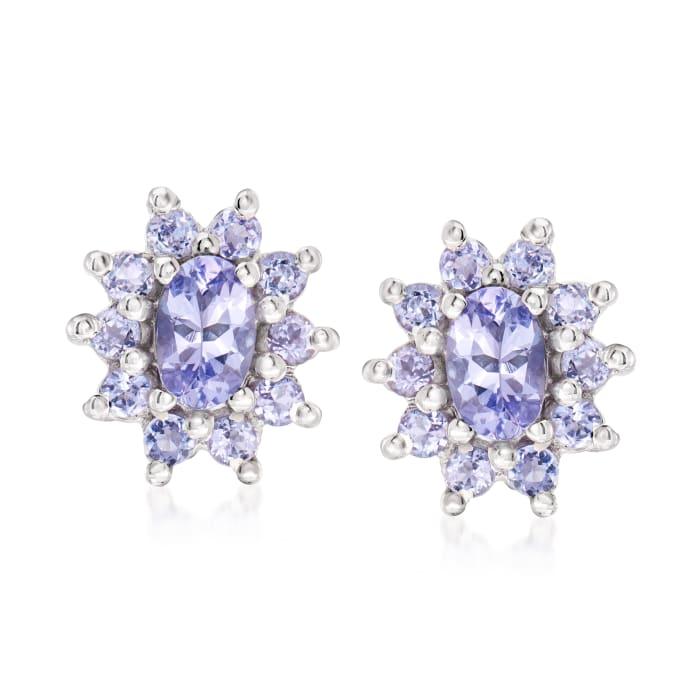 1.40 ct. t.w. Tanzanite Flower Earrings in Sterling Silver
