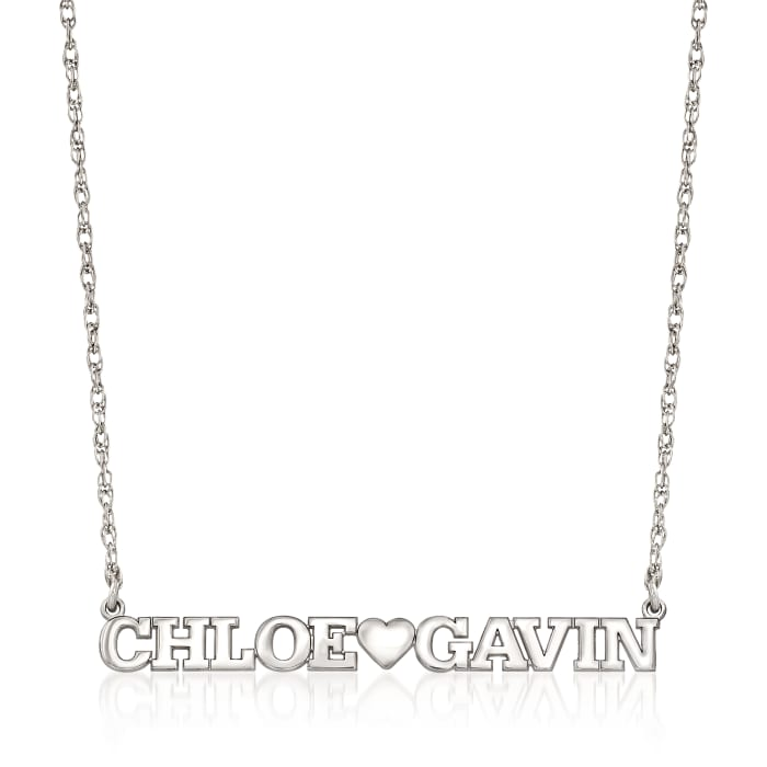 Sterling Silver Two-Name and Heart Necklace