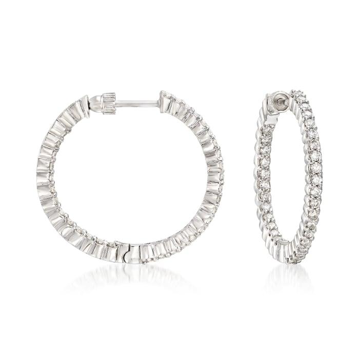 Gabriel Designs 1.05 ct. t.w. Diamond Inside-Outside Hoop Earrings in 14kt White Gold