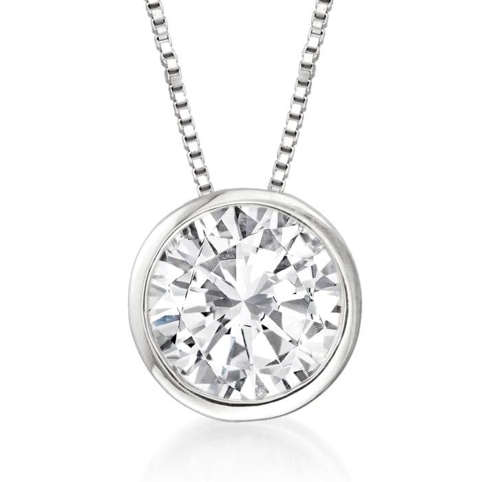 1.20 Carat Bezel-Set Diamond Solitaire Pendant Necklace in 14kt White Gold