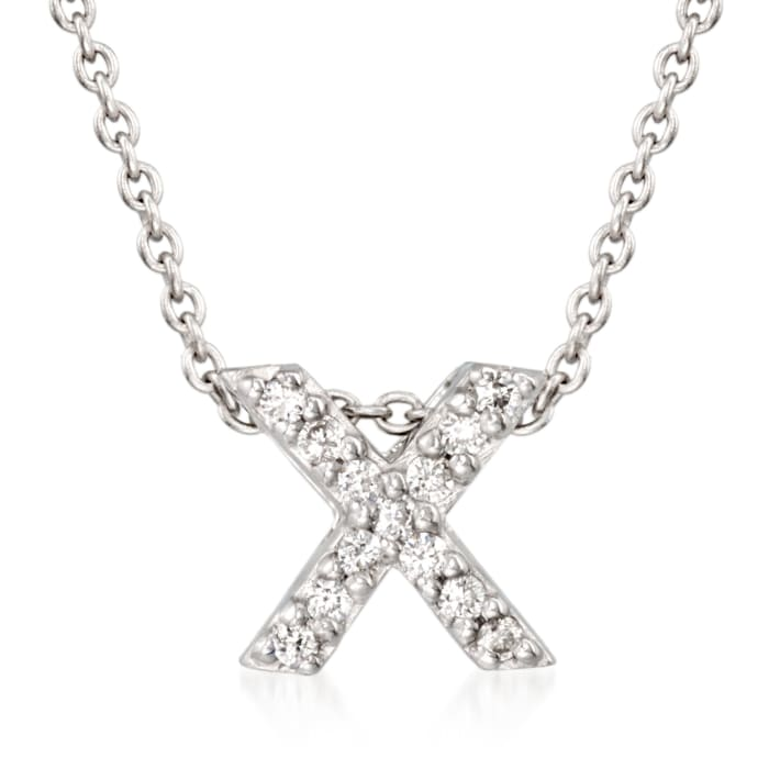 """Roberto Coin """"Love Letter"""" Diamond Accent Initial """"X"""" Necklace in 18kt White Gold"""