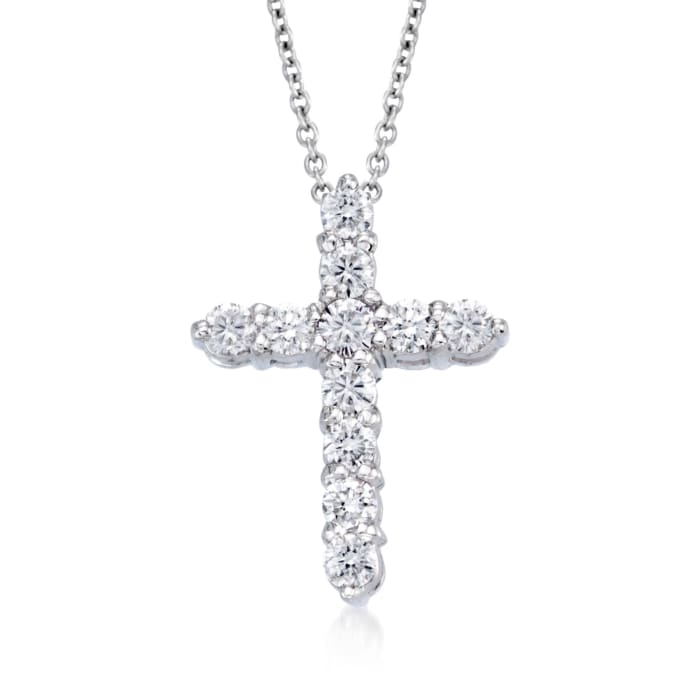 """Roberto Coin """"Tiny Treasures"""" .45 ct. t.w. Diamond Cross Necklace in 18kt White Gold"""