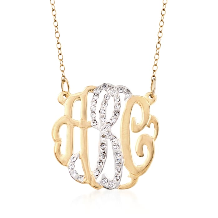 .15 ct. t.w. CZ Monogram Pendant Necklace in Two-Tone Sterling Silver