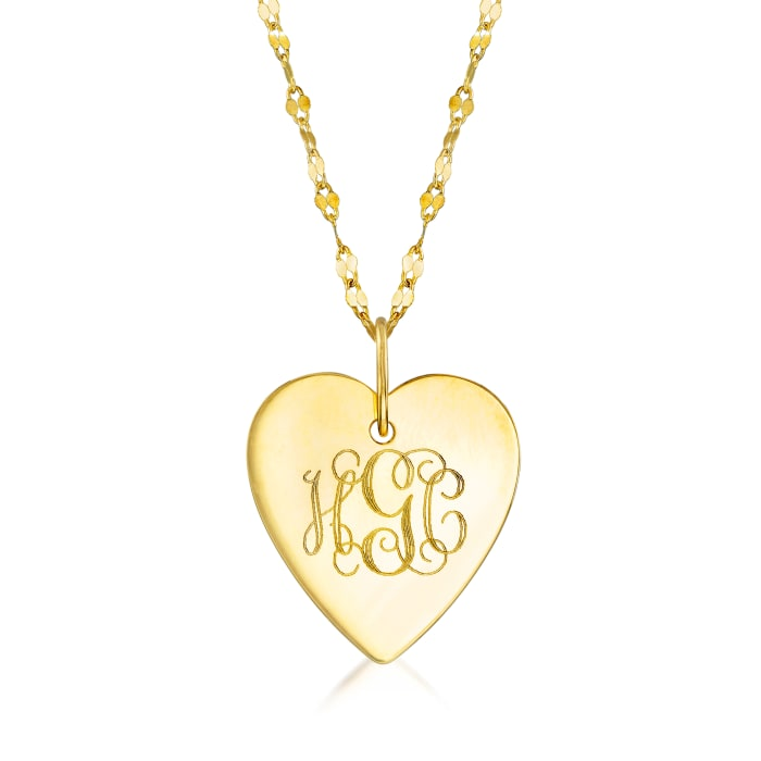Italian 14kt Yellow Gold Personalized Heart Necklace