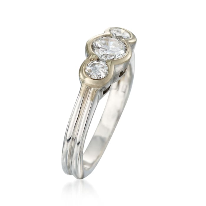C. 1990 Vintage .80 ct. t.w. Bezel-Set Diamond Ring in 18kt White Gold
