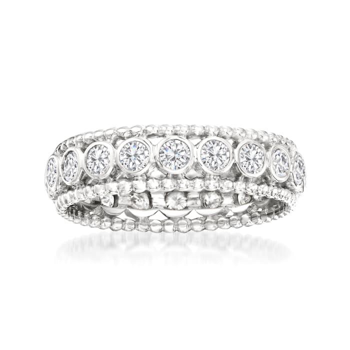 1.00 ct. t.w. Bezel-Set Diamond Eternity Ring in 14kt White Gold