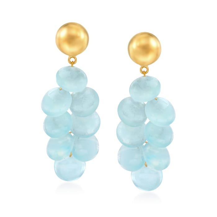 20.00 ct. t.w. Milky Aquamarine Drop Earrings in 18kt Gold Over Sterling