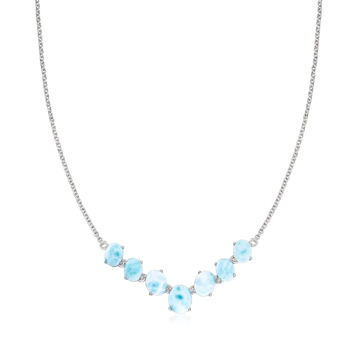 Larimar Graduated Necklace in Sterling Silver