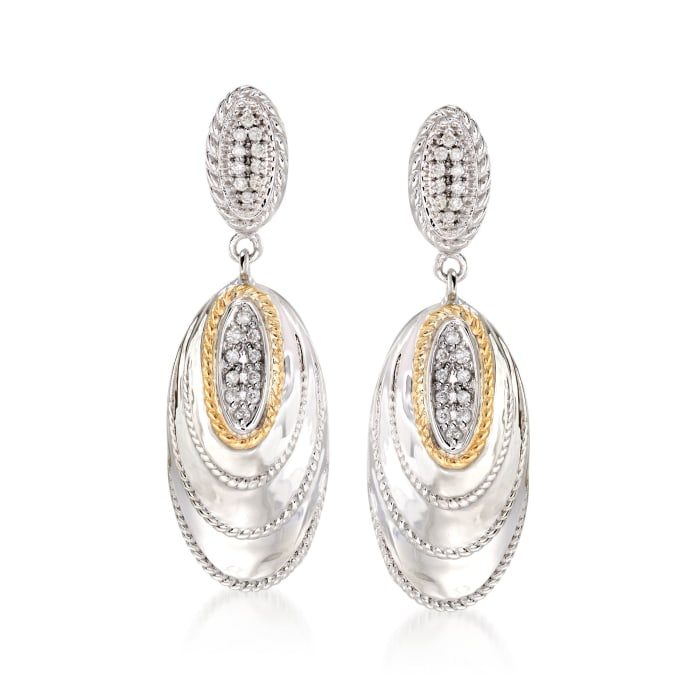 """Andrea Candela """"Eco"""" .21 ct. t.w. Diamond Drop Earrings in 18kt Yellow Gold and Sterling Silver"""