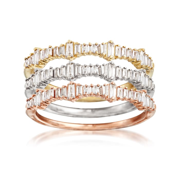 .20 ct. t.w. Baguette Diamond Ring Set of Three in 14kt Tri-Colored Gold