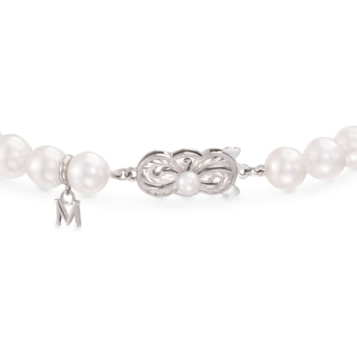 Mikimoto 7-7.5mm 'A' Akoya Pearl and Diamond Bracelet in 18kt White Gold