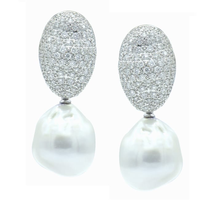15-16mm Cultured South Sea Baroque Pearl and 2.10 ct. t.w. Pave Diamond Drop Earrings in 18kt White Gold