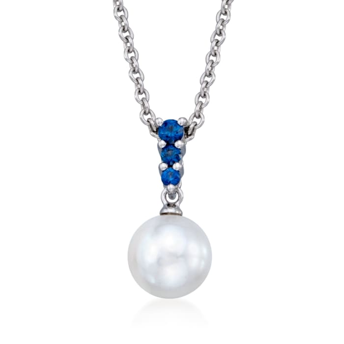 Mikimoto 8mm 'A' Akoya Pearl and .22 ct. t.w. Sapphire Pendant Necklace in 18kt White Gold