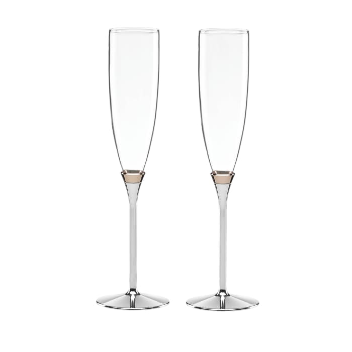 """Kate Spade New York """"Rosy Glow"""" Set of Two Champagne Flutes"""