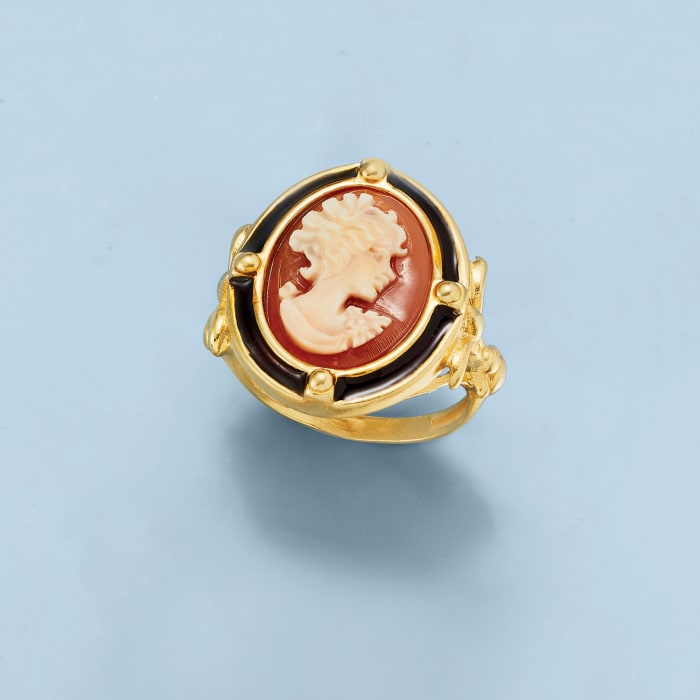 Italian Orange Shell Cameo Ring with Black Enamel in 18kt Gold Over Sterling