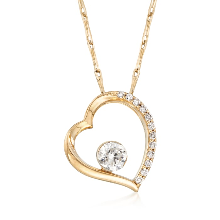 .26 ct. t.w. Diamond Open-Heart Necklace in 14kt Yellow Gold