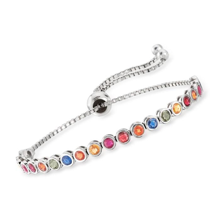 2.85 ct. t.w. Multicolored Sapphire Bolo Bracelet in Sterling Silver