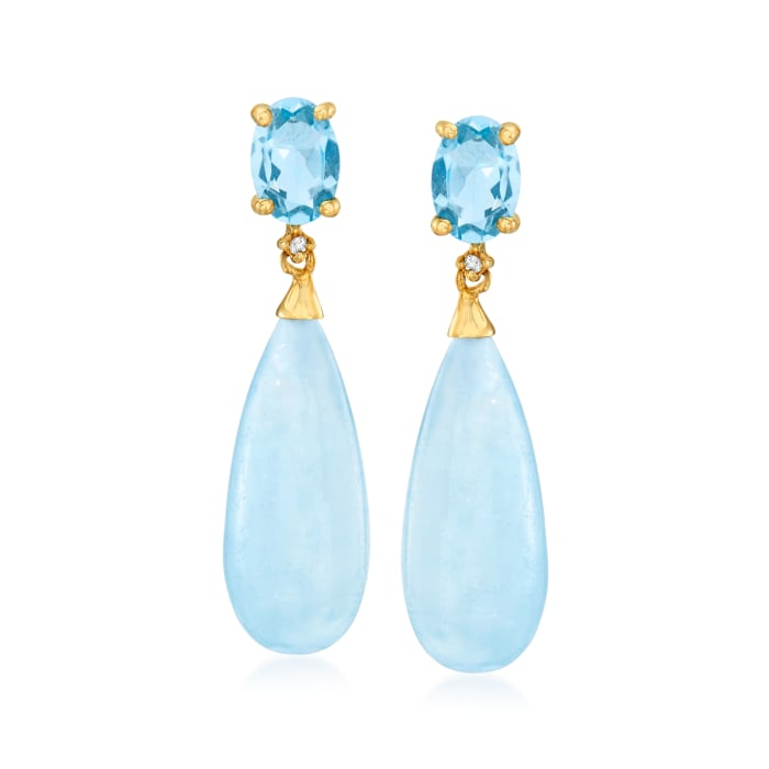16.00 ct. t.w. Aquamarine and 1.80 ct. t.w. Sky Blue Topaz Drop Earrings with Diamond Accents in 14kt Yellow Gold