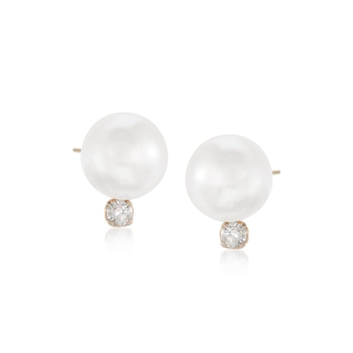 8-8.5mm Cultured Akoya Pearl and .15 ct. t.w. Diamond Earrings in 14kt Yellow Gold