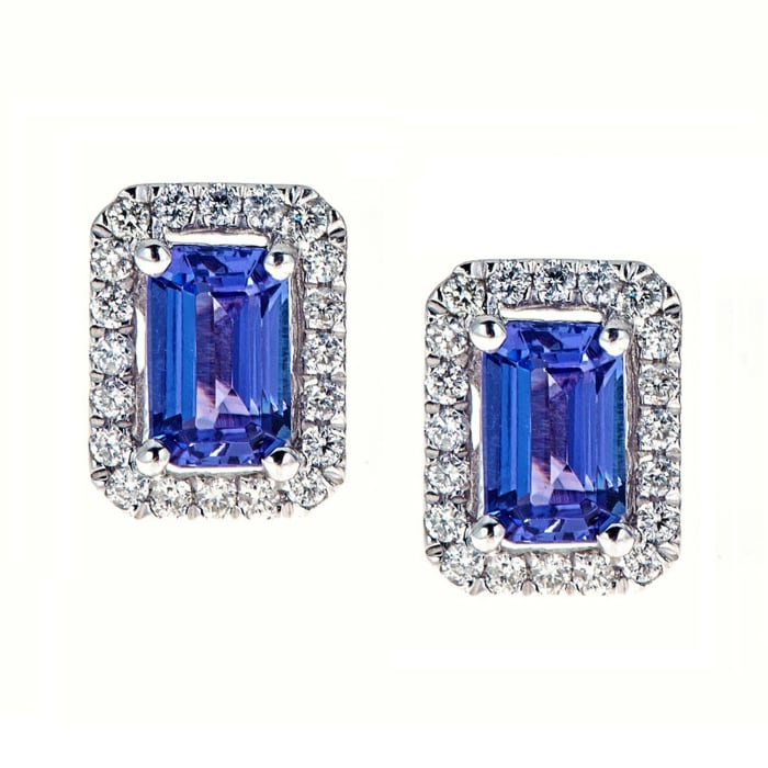 1.20 ct. t.w. Tanzanite and .21 ct. t.w. Diamond Earrings in 14kt White Gold