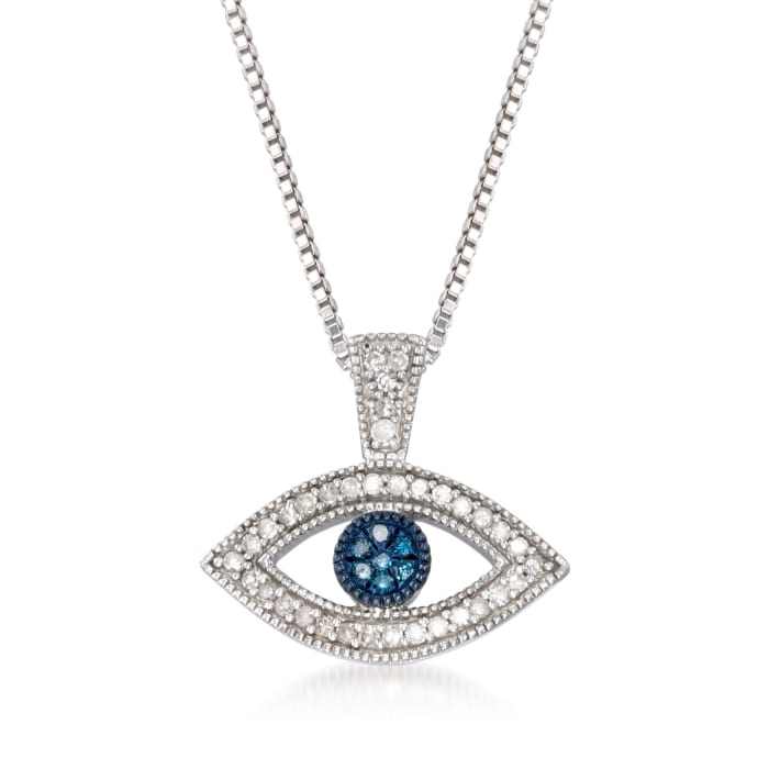 .10 ct. t.w. Blue and White Diamond Evil Eye Pendant Necklace in Sterling Silver