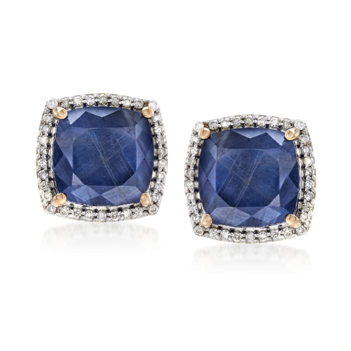 7.75 ct. t.w. Sapphire and .27 ct. t.w. Diamond Stud Earrings in 14kt Yellow Gold