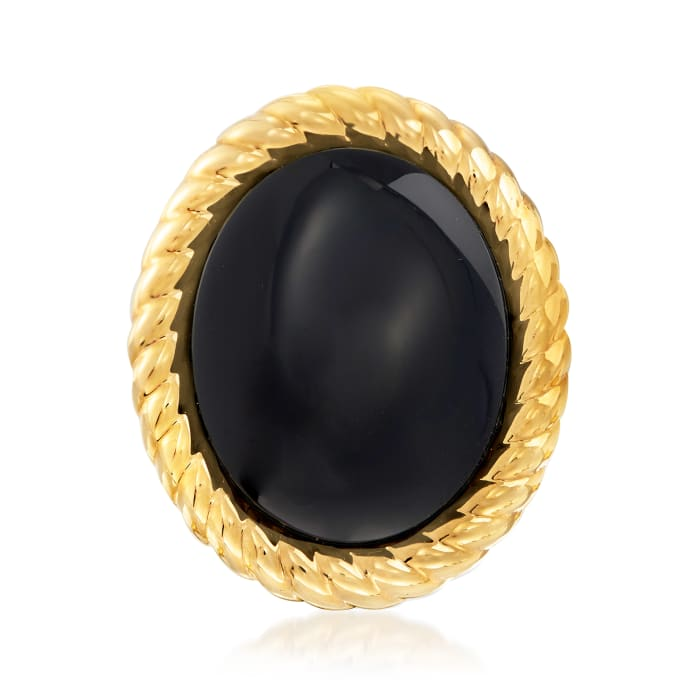 Italian Andiamo Black Onyx Ring in 14kt Yellow Gold Over Resin