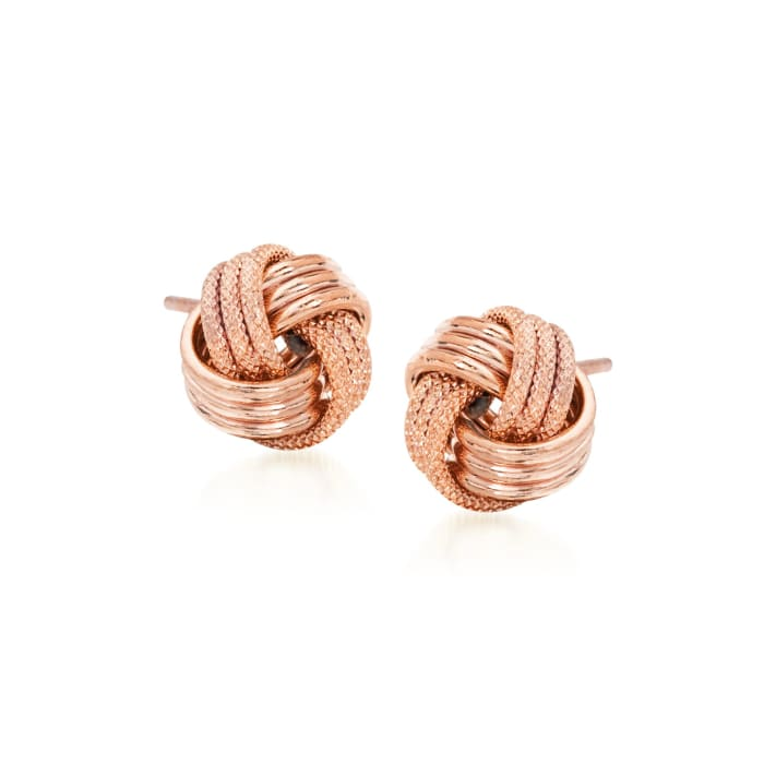 14kt Rose Gold Textured and Polished Love Knot Stud Earrings