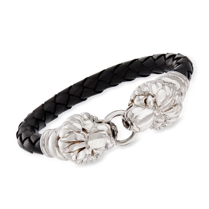 Italian Sterling Silver Double Lion Head Black Leather Bracelet with Magnetic Clasp