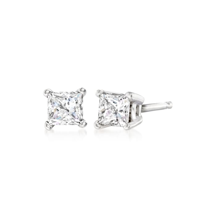.33 ct. t.w. Princess-Cut Diamond Stud Earrings in 14kt White Gold